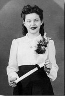 Pearl with her highschool diploma in 1942